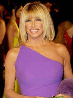 Suzanne Somers wearing a purple dress at a celebrity party